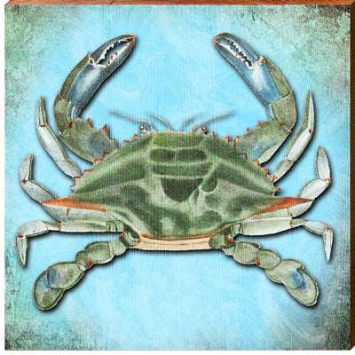 Rustic Blue Crab Art Square Piece-Mill Wood Art