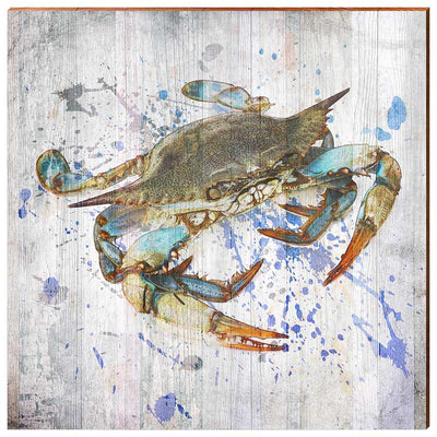 Watercolor Blue Crab-Mill Wood Art