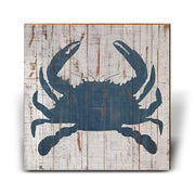 Minimalist Blue Crab Shabby-Chic Square Piece-Mill Wood Art