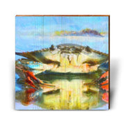 Reflections of a Blue Crab Square Piece-Mill Wood Art