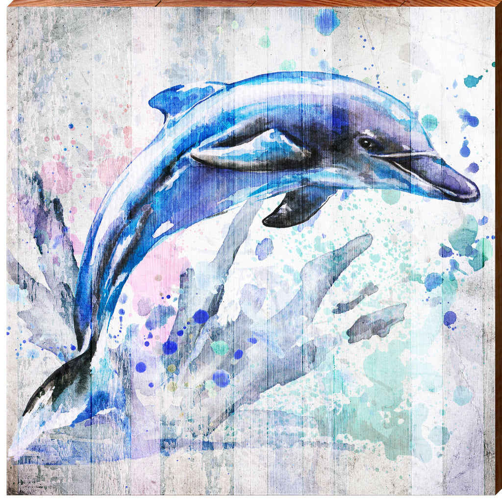 Watercolor Dolphin-Mill Wood Art