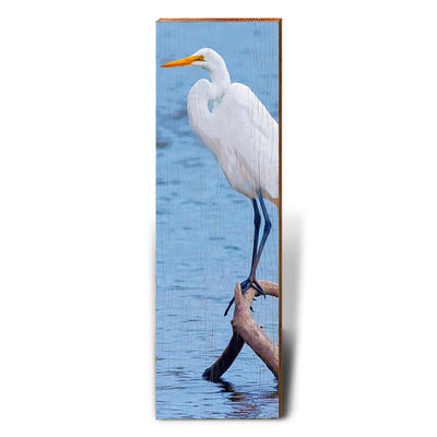 Egret Perched on Branch-Mill Wood Art