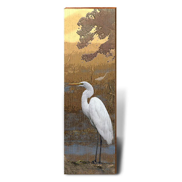 Egret at Dusk Piece-Mill Wood Art