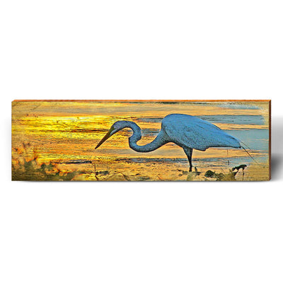 Egret Beach Sunset Piece-Mill Wood Art