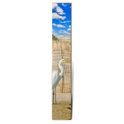 "Egret on Sand Dunes Large Piece | Size: 9.5"" x 60""-Mill Wood Art"