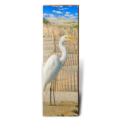 Egret on Sand Dunes Piece-Mill Wood Art