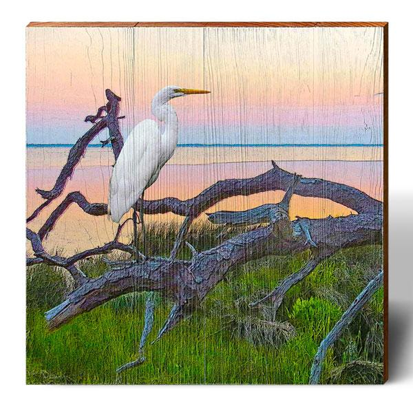 Egret Sunset Landscape Square Piece-Mill Wood Art