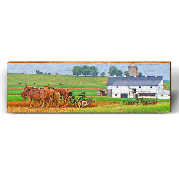 Amish Farm Horses Piece-Mill Wood Art