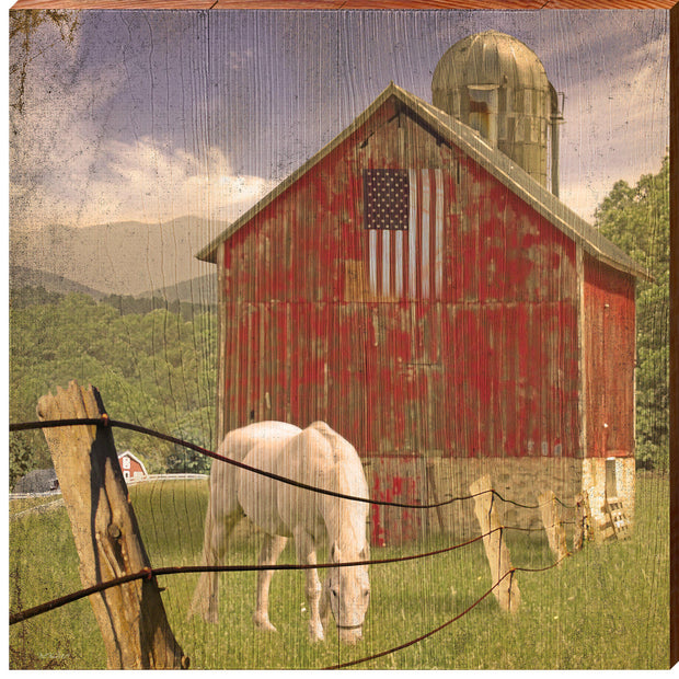 Red American Horse Barn Square Piece-Mill Wood Art