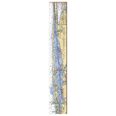 "Manasota Key, Florida Navigational Chart Large | Size: 9.5"" x 60"" Wall Art-Mill Wood Art"