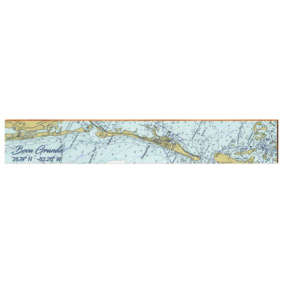 "Boca Grande, Florida Navigational Chart Large | Size: 9.5"" x 60"" Wall Art-Mill Wood Art"