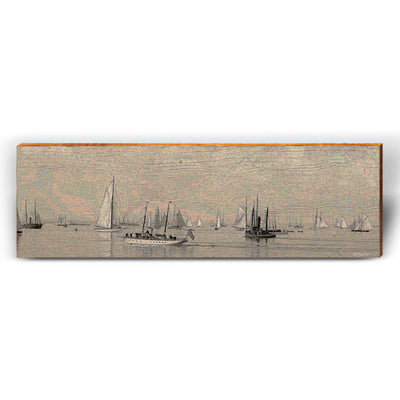 Vintage Sailboat Harbor-Mill Wood Art