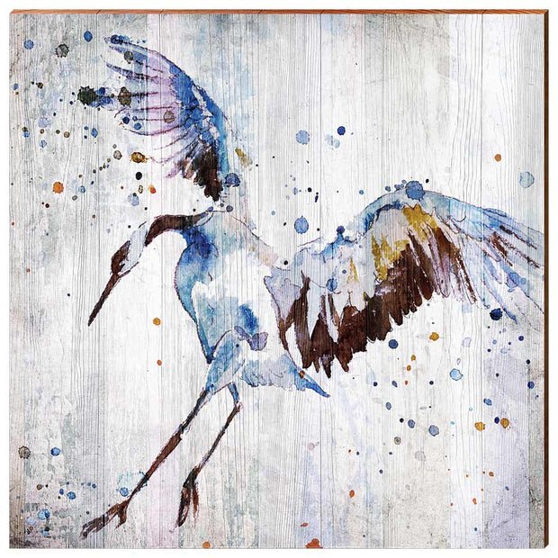 Watercolor Heron-Mill Wood Art