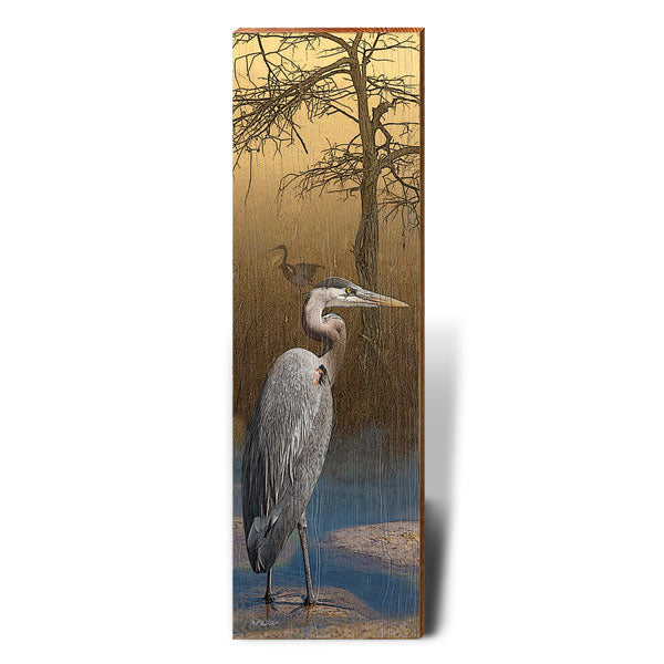 Heron at Dusk Piece-Mill Wood Art