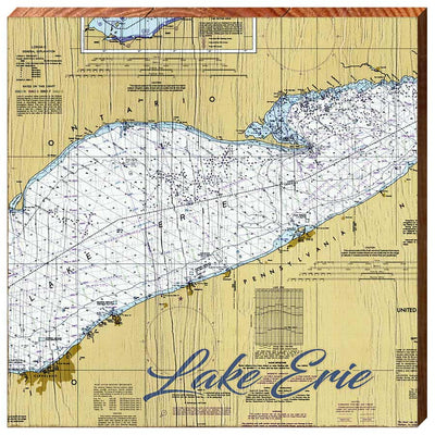 Lake Erie Navigationall Chart Square Wall Art-Mill Wood Art