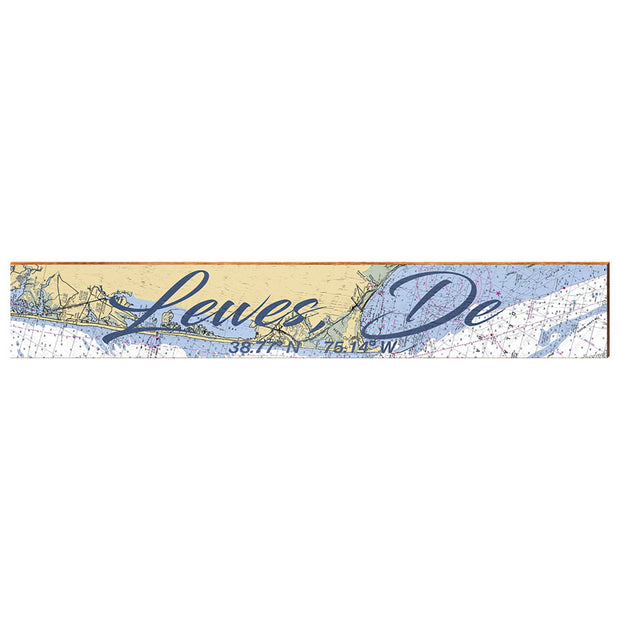 "Lewes, Delaware Navigational Chart Large | Size: 9.5"" x 60"" Wall Art-Mill Wood Art"