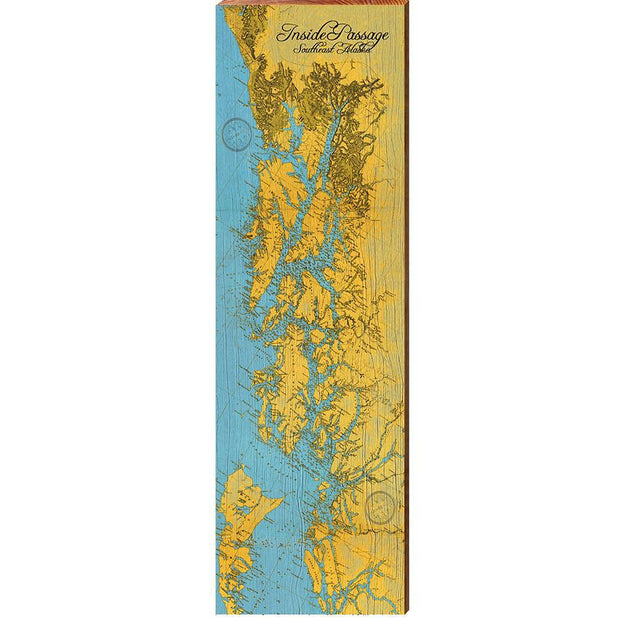 Alaska, Inside Passage Topographical Map Wall Art-Mill Wood Art