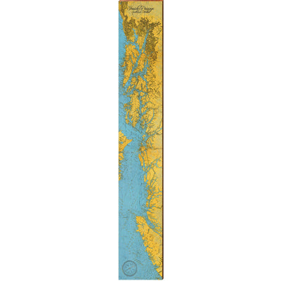 "Alaska, Inside Passage Topographical Map Large | Size: 9.5"" x 60"" Wall Art-Mill Wood Art"