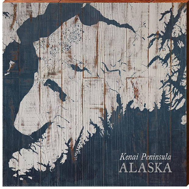 Kenai Peninsula, Alaska Navy & White Shabby Map Wall Art-Mill Wood Art