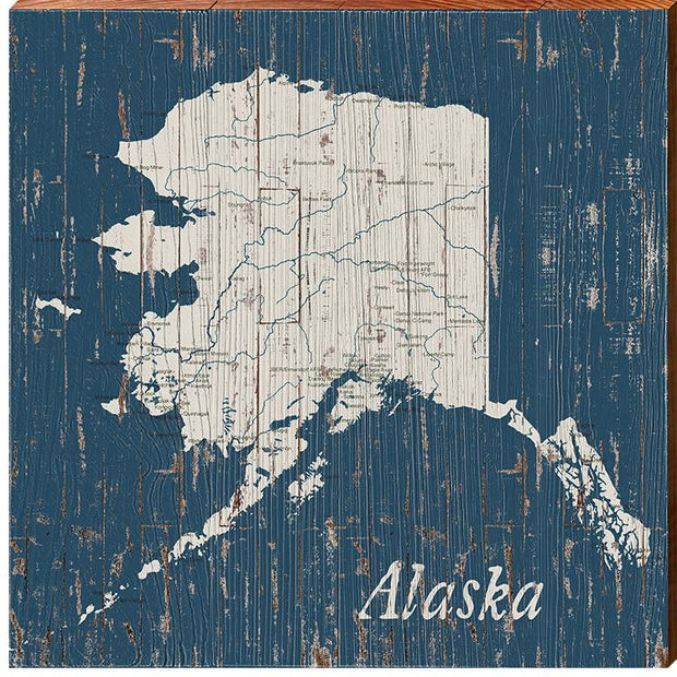 Alaska State Navy & White Shabby Map Wall Art-Mill Wood Art