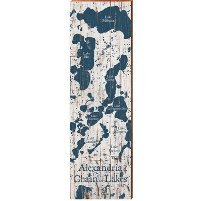 Alexandria Chain Of Lakes, Minnesota Navy & White Shabby Styled Map Wall Art-Mill Wood Art