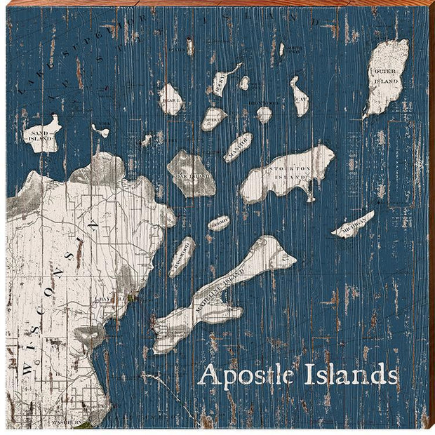 Apostle Islands, Wisconsin Navy & White Shabby Map Wall Art-Mill Wood Art