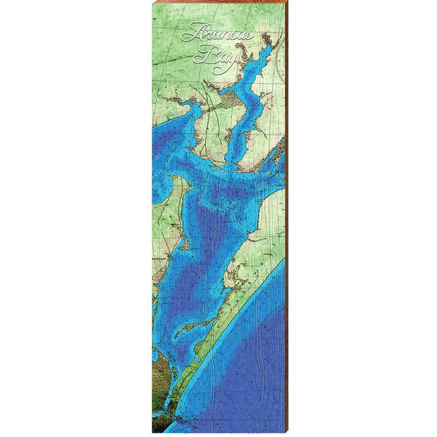 Aransas Bay, Texas Topographical Map Wall Art-Mill Wood Art