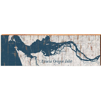 "Astoria Oregon Inlet Shabby Map Home Decor Art Print on Real Wood (9.5""x30"") Wall Art-Mill Wood Art"