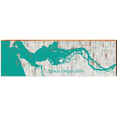 "Astoria Oregon Inlet Teal Map Home Decor Art Print on Real Wood (9.5""x30"") Wall Art-Mill Wood Art"