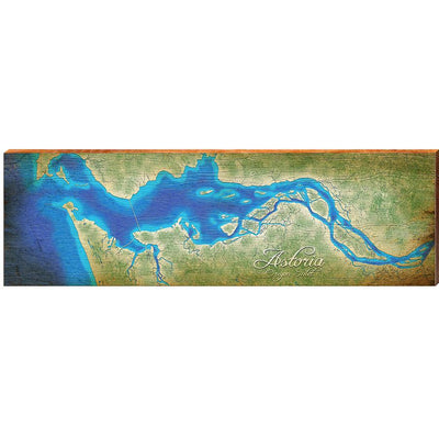 "Astoria Oregon Inlet Map Home Decor Art Print on Real Wood (9.5""x30"") Wall Art-Mill Wood Art"