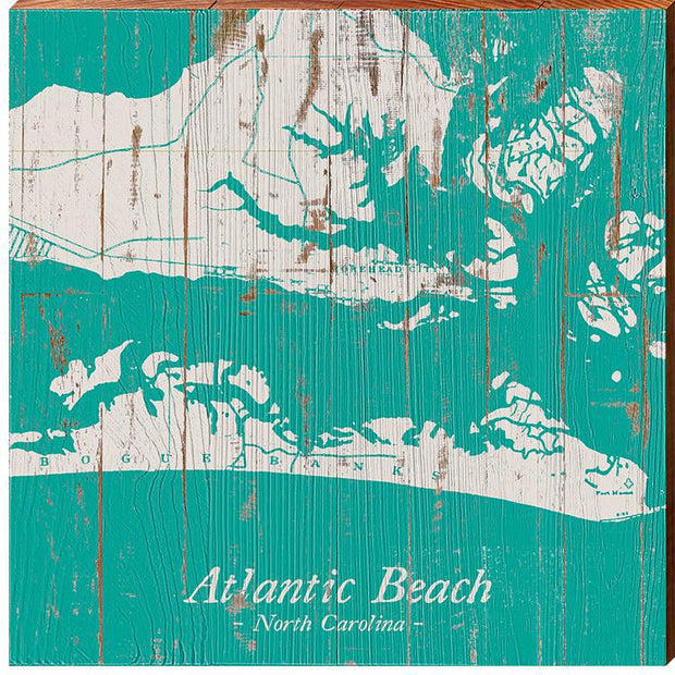 Atlantic Beach, North Carolina Navigational Teal Map Wall Art-Mill Wood Art