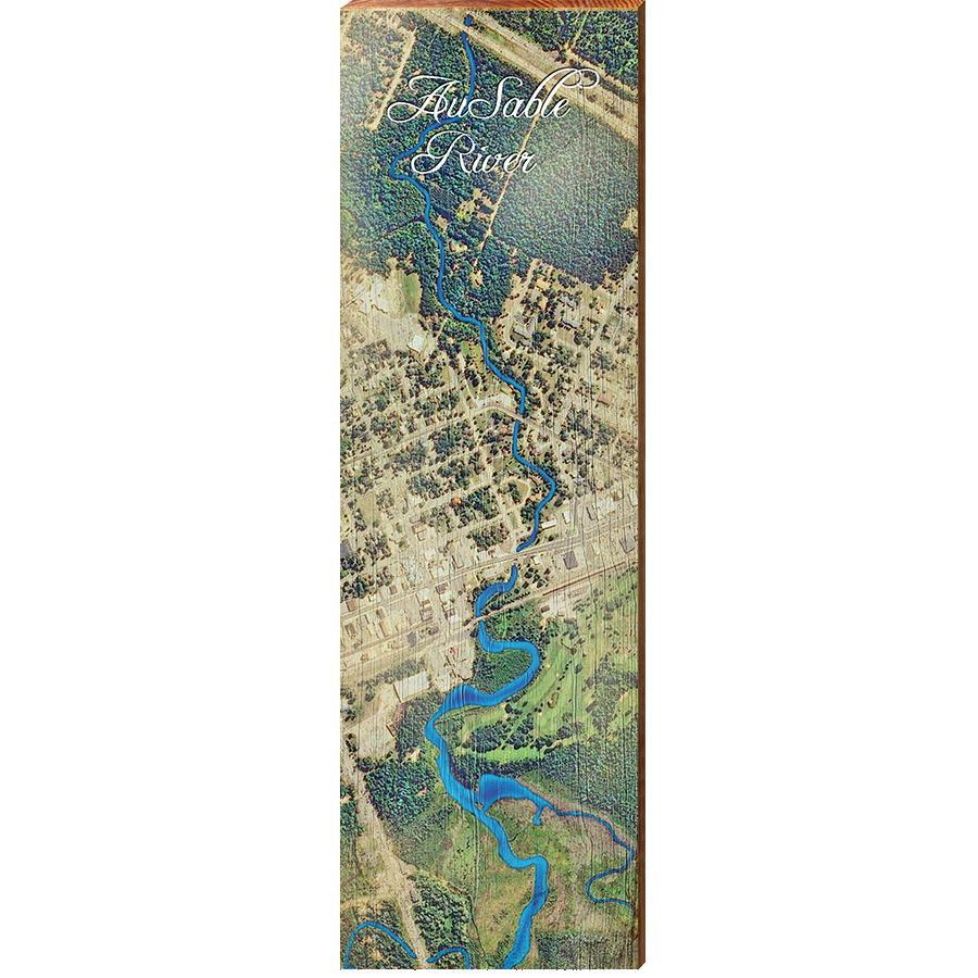 Au Sable River, Michigan Satellite Styled Map Wall Art 5.5\