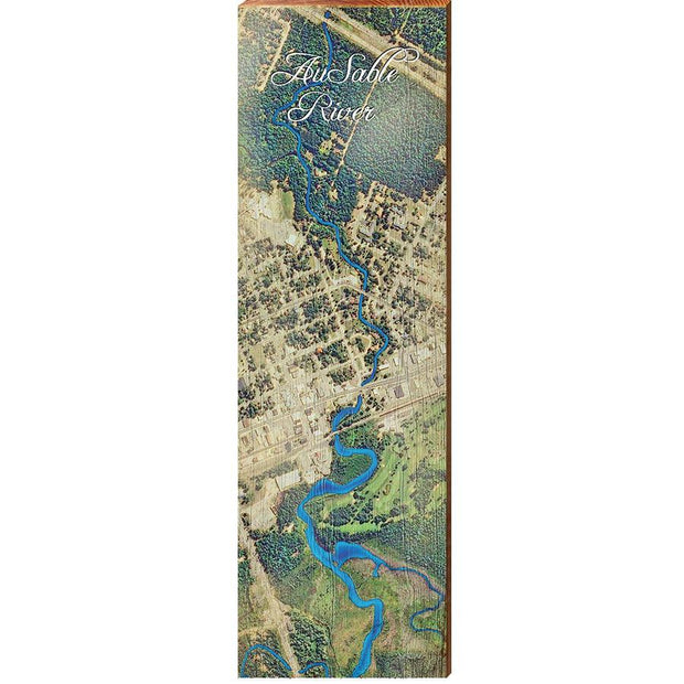 Au Sable River, Michigan Satellite Styled Map Wall Art-Mill Wood Art