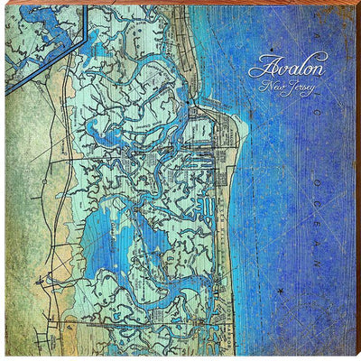 "Avalon, New Jersey Map Home Decor Art Print on Real Wood (18""x18"" Wall Art-Mill Wood Art"