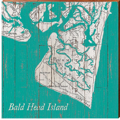 Bald Head Island, North Carolina Navigational Teal Map Wall Art-Mill Wood Art