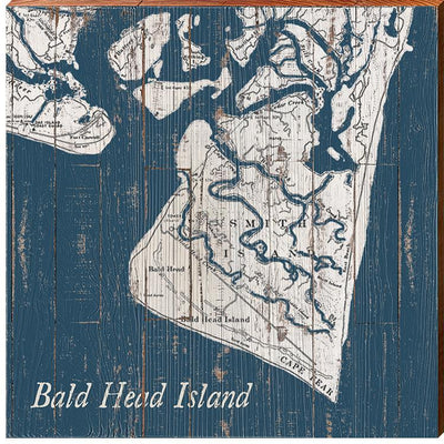 Bald Head Island, North Carolina Navy & White Shabby Map Wall Art-Mill Wood Art