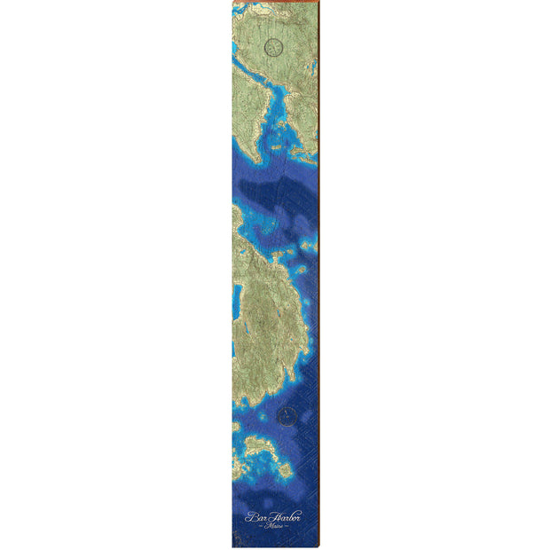 "Bar Harbor, Maine Topographical Styled Chart Large | Size: 9.5"" x 60""-Mill Wood Art"