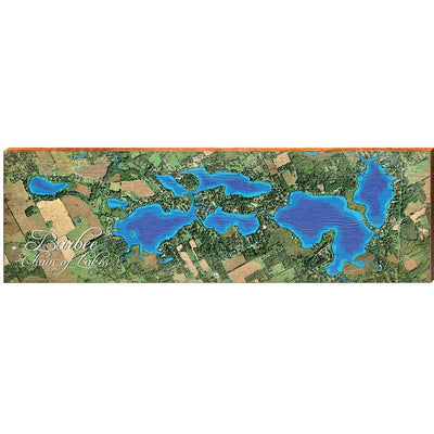 Barbee Chain Of Lakes, Indiana Satellite Styled Map Wall Art-Mill Wood Art
