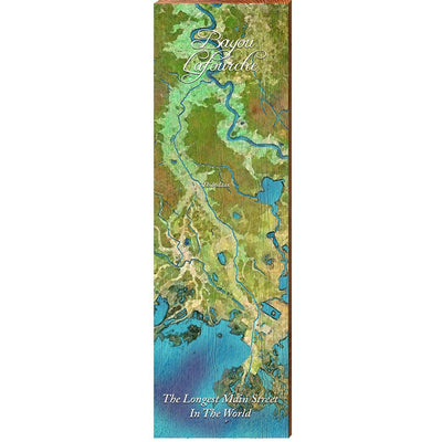 Bayou Lafourche, Louisiana 'The Longest Main Street In The World' Satellite Styled Map Wall Art-Mill Wood Art