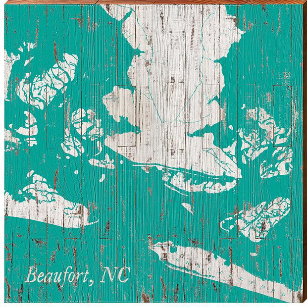 Beaufort, North Carolina Shabby Teal Map Wall Art-Mill Wood Art