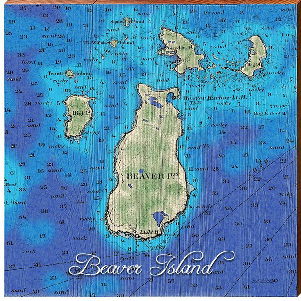 Beaver Island, Michigan Topographical Styled Chart Square-Mill Wood Art
