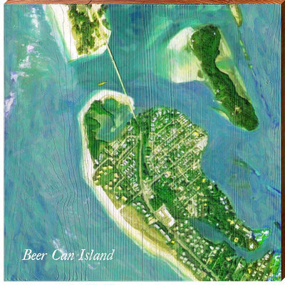 Beer Can Island, Florida Satellite Styled Map Square Wall Art-Mill Wood Art