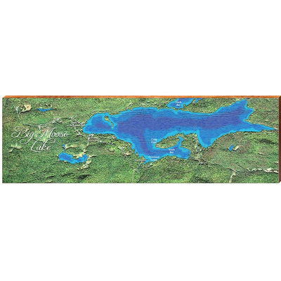 Big Moose Lake, New York Satellite Map Wall Art-Mill Wood Art