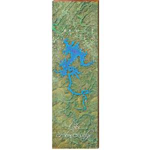"Blue Ridge Lake Map Home Decor Art Print on Real Wood (9.5""x30"")"