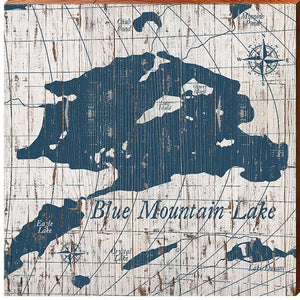 "Blue Mountain Lake Shabby Map Home Decor Art Print on Real Wood (18""x18"""