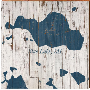 Blue Lake, Michigan Navy & White Shabby Styled Map Square Wall Art