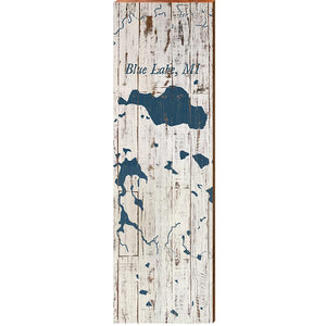 "Blue Lake Shabby Map Home Decor Art Print on Real Wood (9.5""x30"")"