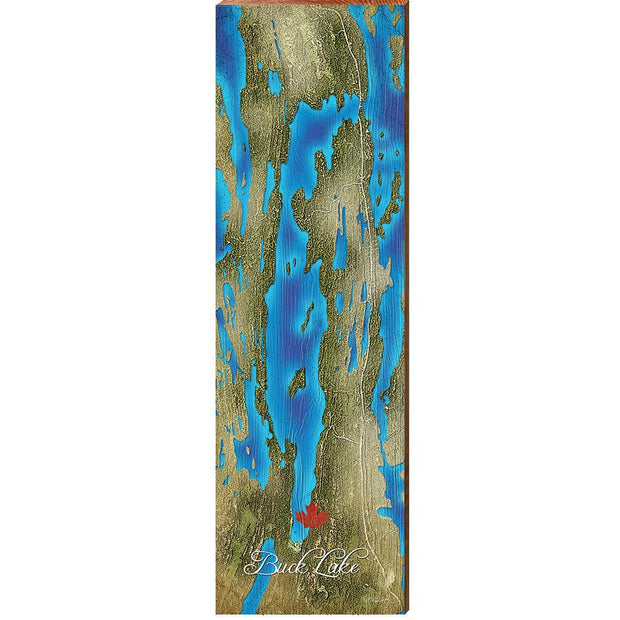 Buck Lake, Canada Satellite Map Wall Art-Mill Wood Art