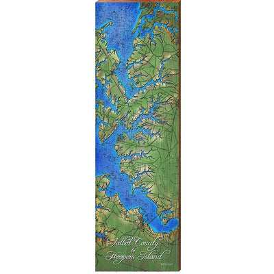 Talbot County to Hoopers Island, Maryland Topographical Styled Chart-Mill Wood Art