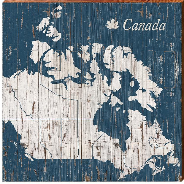 Canada Navy & White Shabby Map Wall Art-Mill Wood Art